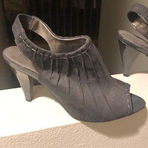 Dark gray suede peep-toe heels